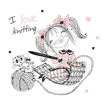 Śliczna dziewczyna szwaczka z kotem robi na drutach na szydełku. wektor.