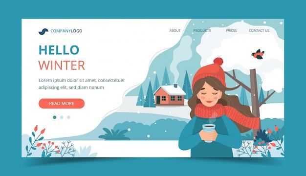 Śliczna dziewczyna trzyma filiżankę, zima krajobraz i śnieg w zimie.