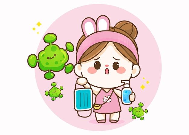 Śliczna dziewczyna trzyma maskę medyczną i środek do dezynfekcji rąk ręcznie rysowana ilustracja kreskówka