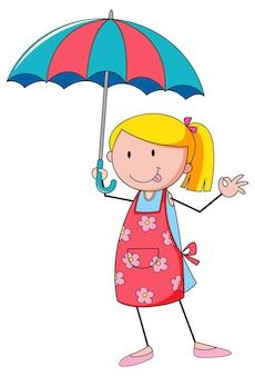 Śliczna dziewczyna trzyma parasol doodle postać z kreskówki na białym tle