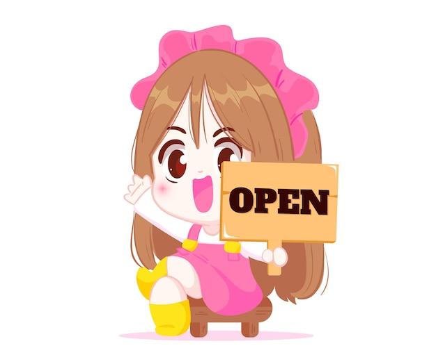 Śliczna dziewczyna trzyma sklep otwarty znak ilustracja kreskówka postać z kreskówki