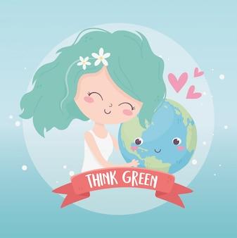 Śliczna dziewczyna trzyma światową miłości środowiska ekologię