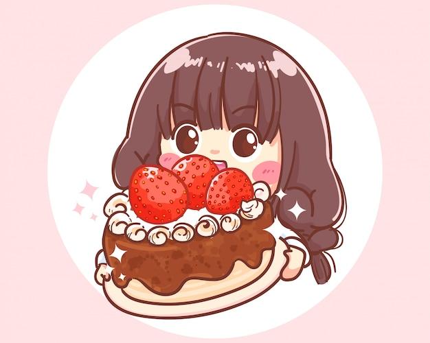 Śliczna dziewczyna trzyma tort truskawkowy. ilustracja kreskówka premium wektorów