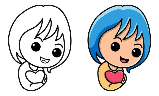 Śliczna dziewczyna trzyma znak miłości kolorowanka dla dzieci