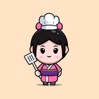 Śliczna dziewczyna ubrana w kimono sukienka kucharz ilustracja kreskówka