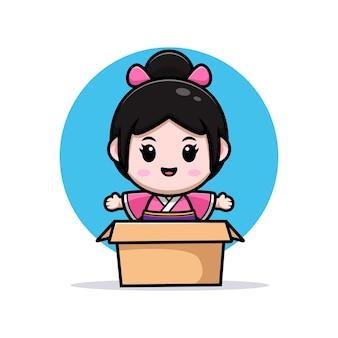 Śliczna dziewczyna ubrana w kimono sukienkę macha ręką wewnątrz pudełka ilustracja kreskówka