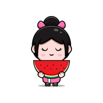 Śliczna dziewczyna ubrana w kimono, trzymająca arbuzową ilustrację kreskówki
