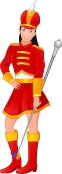 Śliczna dziewczyna ubrana w kostium lidera orkiestry marszowej