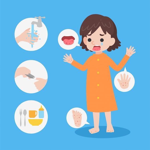 Śliczna dziewczyna ubrana w płaszcz przeciwdeszczowy ma chorobę dłoni
