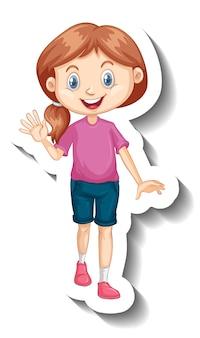 Śliczna dziewczyna ubrana w różową koszulkę naklejkę z postacią z kreskówek