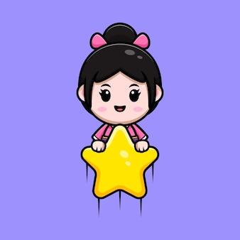 Śliczna dziewczyna ubrana w sukienkę kimono unoszącą się z gwiazdą do nieba ilustracja kreskówka