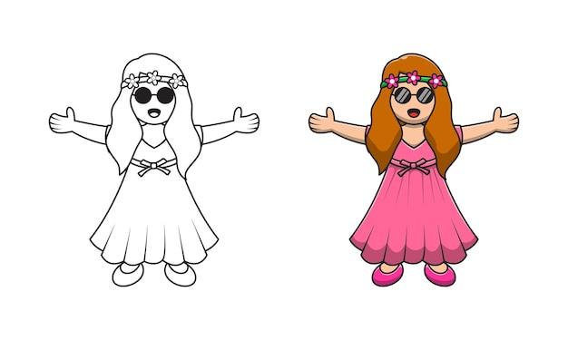 Śliczna dziewczyna ubrana w sukienkę kreskówka do kolorowania