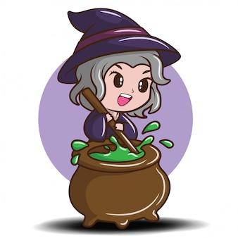 Śliczna dziewczyna w czarownica kostiumu., bajki kreskówki pojęcie.