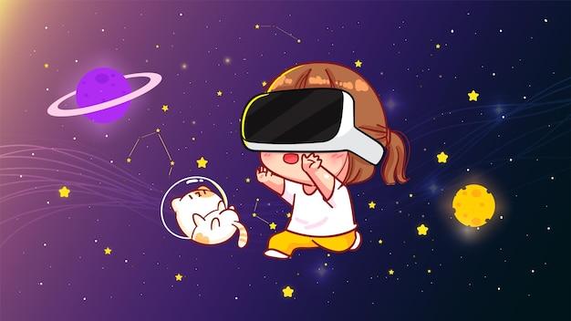 Śliczna dziewczyna w goglach wirtualnej rzeczywistości i widząc kosmiczny krajobraz.ilustracja sztuki kreskówki