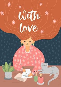 Śliczna dziewczyna w różowym swetrze pisze list, różowe kwiaty we włosach, ładny kot jest z tyłu, ilustracja