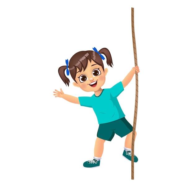 Śliczna dziewczyna wspina się na linie