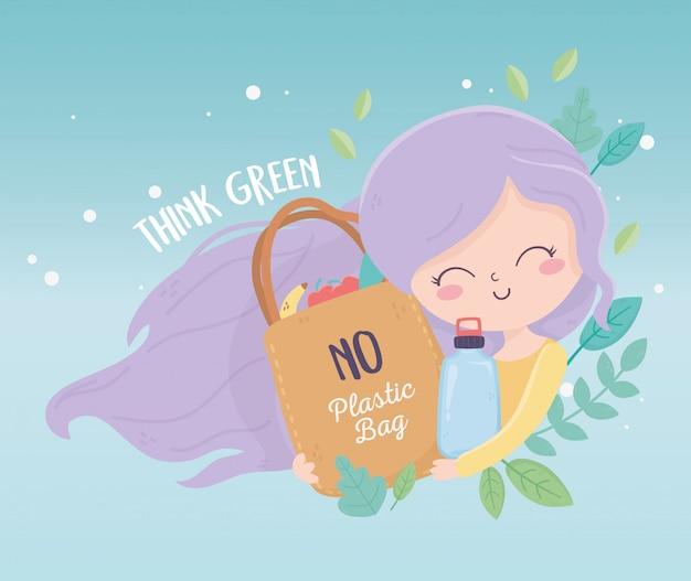 Śliczna dziewczyna z butelką i torbą opuszcza natury środowiska ekologię