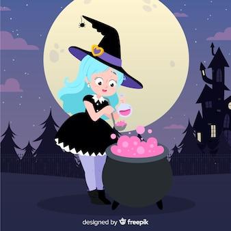 Śliczna dziewczyna z halloween czarownicy kostiumem