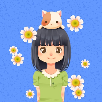 Śliczna dziewczyna z kotem i kwiatem