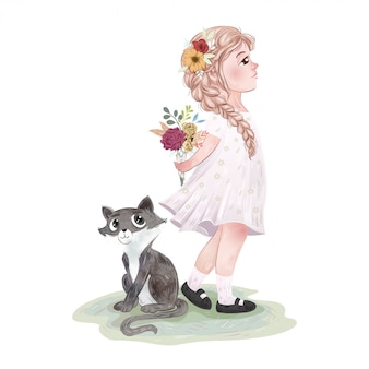 Śliczna dziewczyna z kotem i przyjaciółmi
