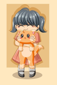 Śliczna dziewczyna z kotem ilustracja kreskówka dzień zwierząt