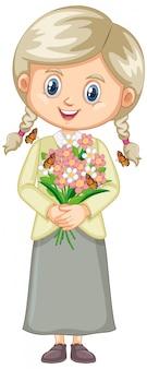 Śliczna dziewczyna z kwiatami na bielu