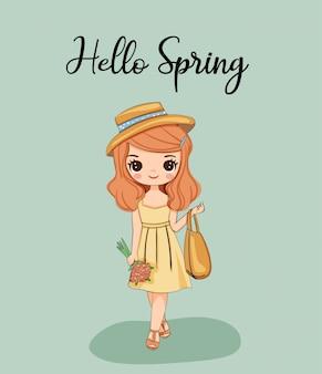 Śliczna dziewczyna z kwiatem z ładną suknią i kapeluszem na wiosnę