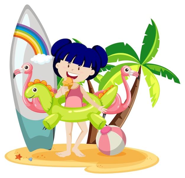 Śliczna dziewczyna z letnimi ikonami plaży na białym tle