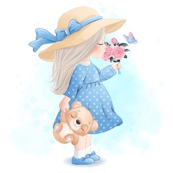 Śliczna dziewczyna z małą niedźwiadkową ilustracją