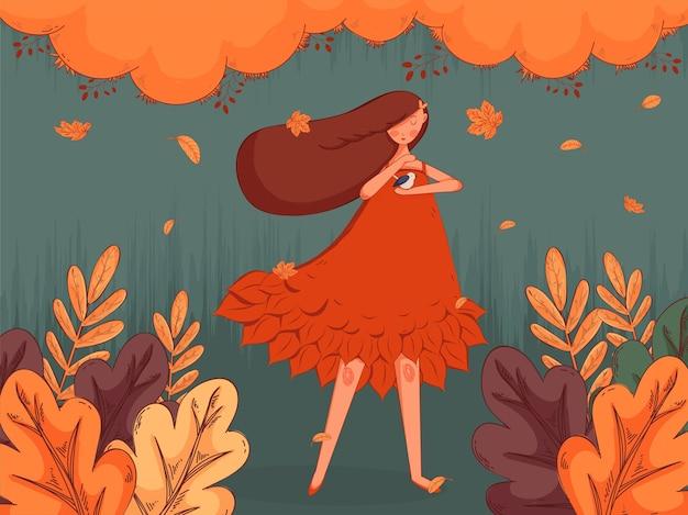Śliczna dziewczyna z ptaszkiem w jesiennych liściach.
