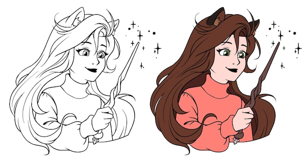 Śliczna dziewczyna z różdżką. ręcznie rysowane ilustracja kreskówka.
