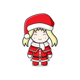 Śliczna dziewczyna z santa kostium charakter kreskówka doodle karty ikona ilustracja płaski styl kreskówki