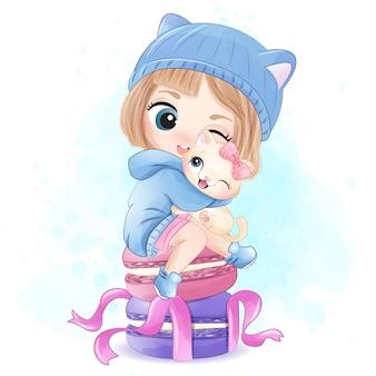 Śliczna dziewczyna z ściółki kiciuni ilustracją