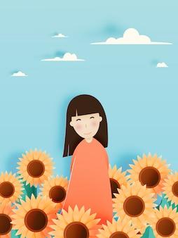 Śliczna dziewczyna z słonecznika polem w papierowej sztuki stylu i pastelowego koloru planu wektoru ilustraci