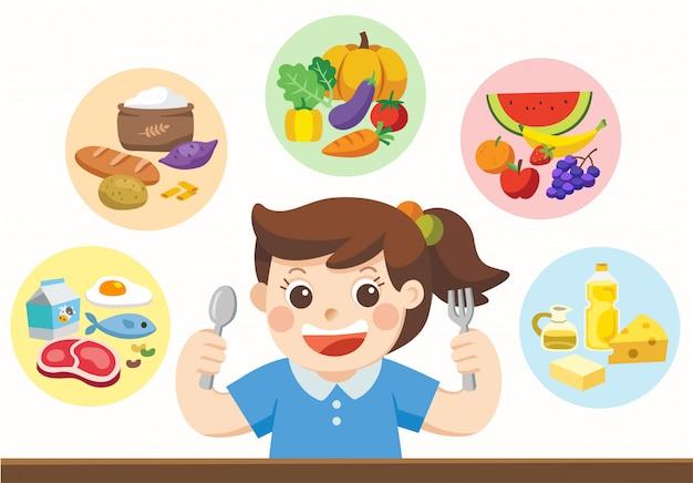 Śliczna dziewczyna z the five food group. zjedzmy coś!