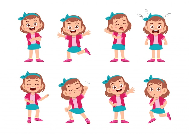 Śliczna dziewczyna z wiele wyrażeń gestów