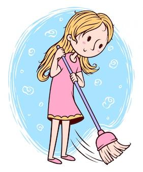 śliczna dziewczyna zamiata podłogową ilustrację