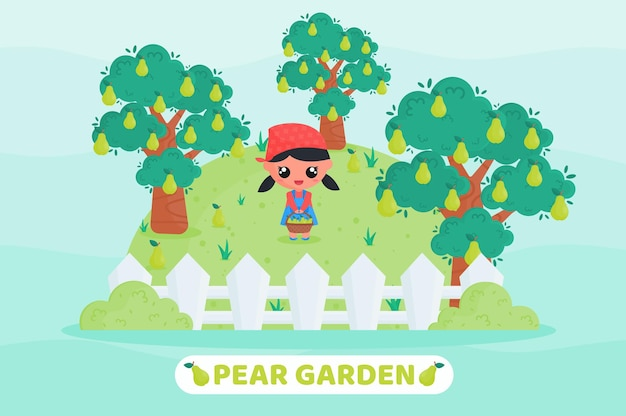 Śliczna dziewczyna zbiera gruszkę w ogrodzie ilustracja kreskówka