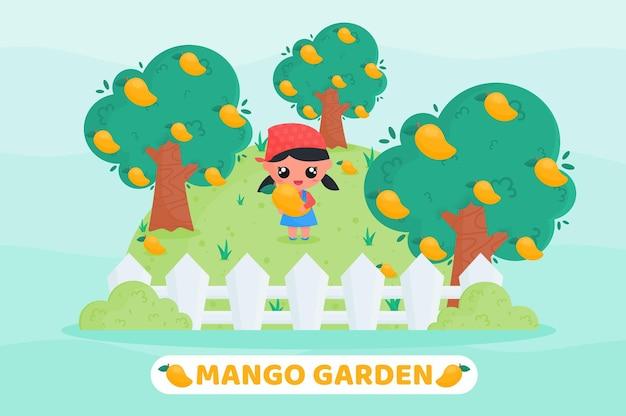 Śliczna dziewczyna zbierająca owoce na ilustracji kreskówki z mango ogrodowego