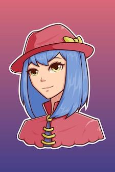 Śliczna dziewczyna ze śliczną ilustracją postaci kapelusza