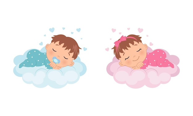 Śliczna dziewczynka i chłopiec śpi na chmurze