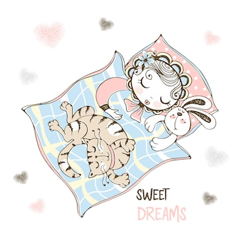 Śliczna dziewczynka śpi w łóżeczku z zabawkowym króliczkiem i kotem.