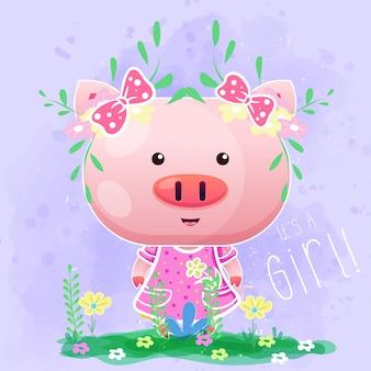 Śliczna dziewczynka świnia z kwiatami na purpurowym tle