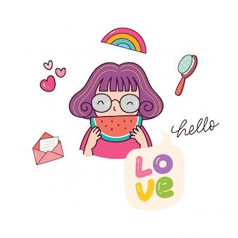 Śliczna dziewczyny łasowania arbuza ilustracja