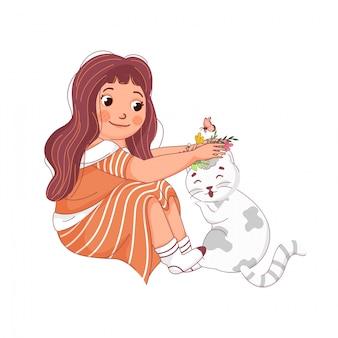 Śliczna dziewczyny mienie kwitnie z kotem i motylem na bielu