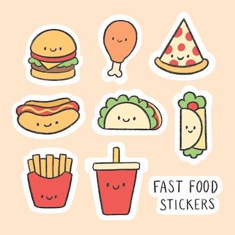 Śliczna fast food majcheru kreskówki ręka rysująca kolekcja
