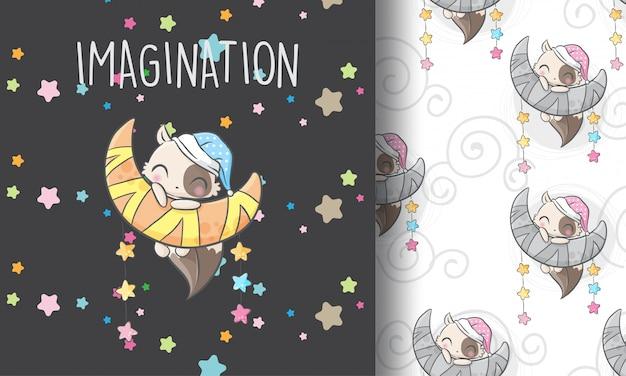 Śliczna figlarka na księżyc bezszwowej deseniowej ilustraci dziecinnej