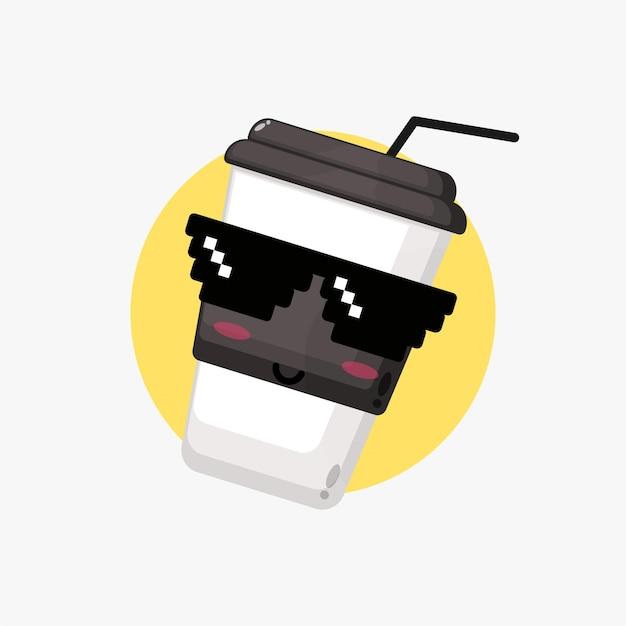 Śliczna filiżanka kawy w okularach pikseli