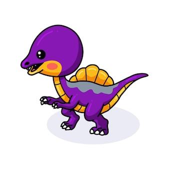 Śliczna fioletowa kreskówka małego dinozaura