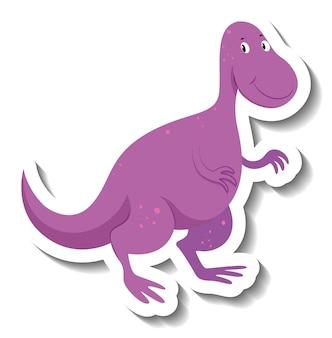 Śliczna fioletowa naklejka z postacią z kreskówki dinozaura